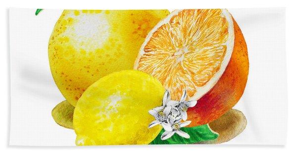 A Happy Citrus Bunch Grapefruit Lemon Orange Beach Towel
