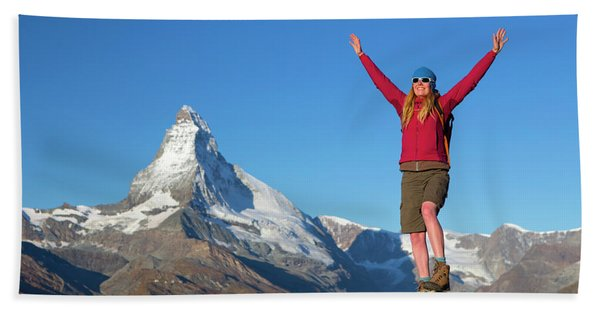 A Happy Female Hiker Is Greeting Beach Towel