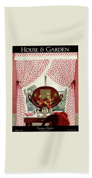 A House And Garden Cover Of A Mirror Beach Towel