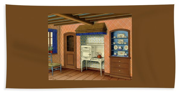 A Kitchen With An Old Fashioned Oven And Stovetop Beach Towel
