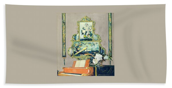A Painting Of A House Interior Beach Towel