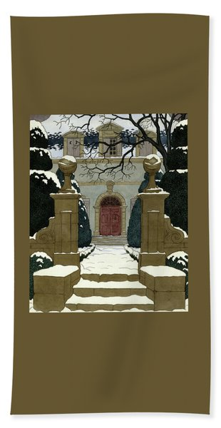 A Snow Covered Pathway Leading To A Mansion Beach Towel