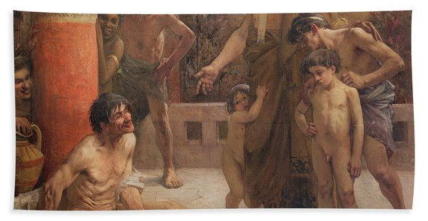 A Spartan Points Out A Drunken Slave To His Sons Beach Towel