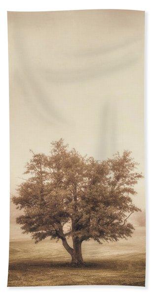 A Tree In The Fog Beach Towel