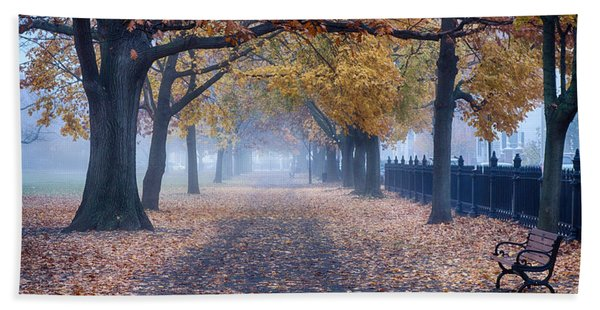 Beach Towel featuring the photograph A Walk In Salem Fog by Jeff Folger