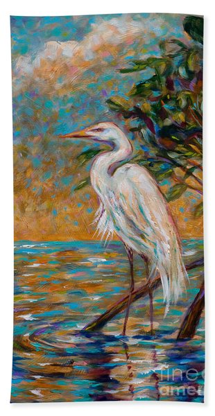 Afternoon Egret Beach Towel