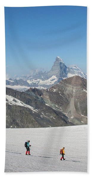 Alpinists With Matterhorn Beach Towel
