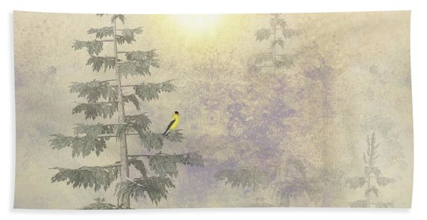 American Goldfinch Morning Mist  Beach Towel