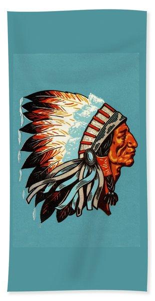 American Indian Chief Profile Beach Towel
