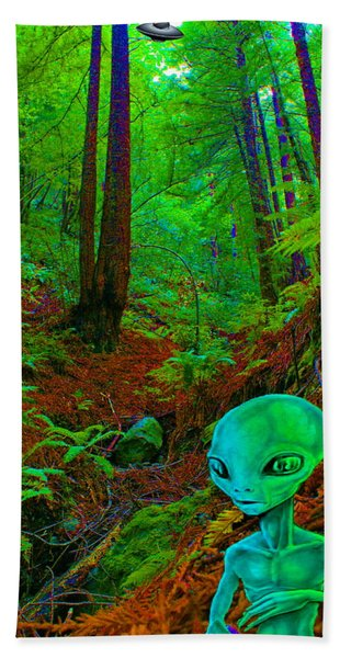 An Alien In A Cosmic Forest Of Time Beach Towel