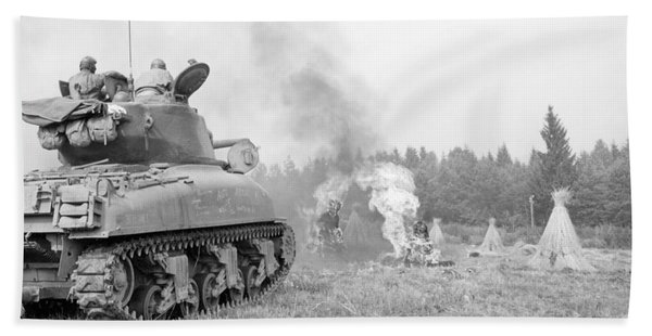 An M4a3e8 76mm Armed Sherman Tank Beach Towel