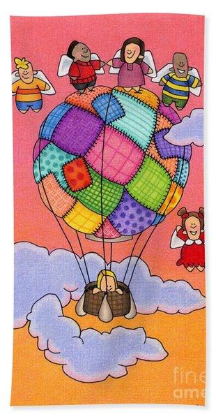 Angels With Hot Air Balloon Beach Towel