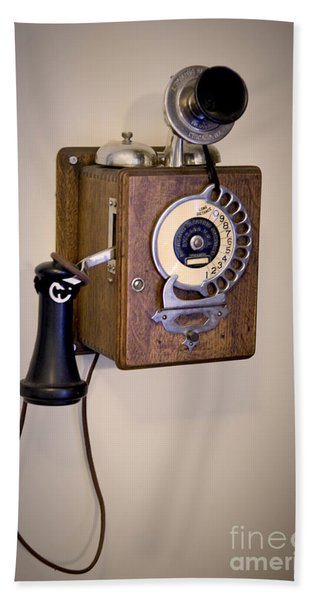 Beach Towel featuring the photograph Antique Telephone by David Millenheft