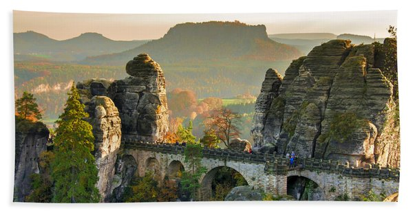 Autumn Afternoon On The Bastei Bridge Beach Towel