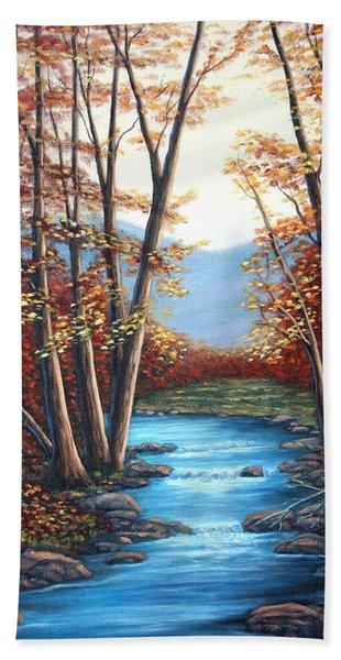 Autumn Mountain Stream  Beach Towel
