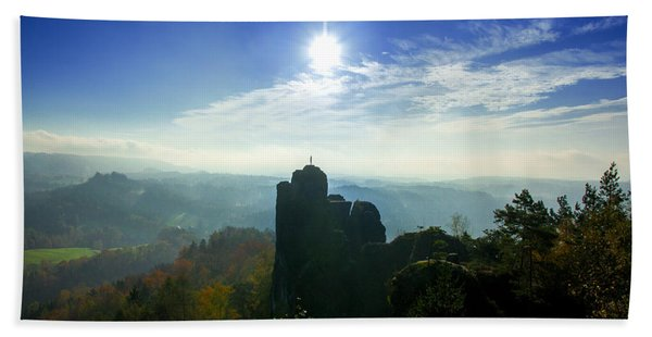Autumn Sunrise In The Elbe Sandstone Mountains Beach Towel