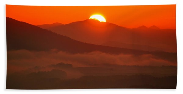 Autumn Sunrise On The Lilienstein Beach Towel