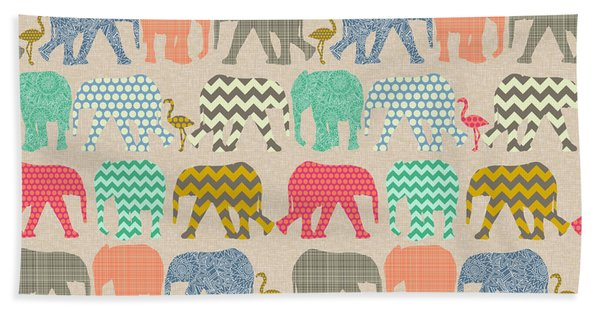 Baby Elephants And Flamingos Linen Beach Towel