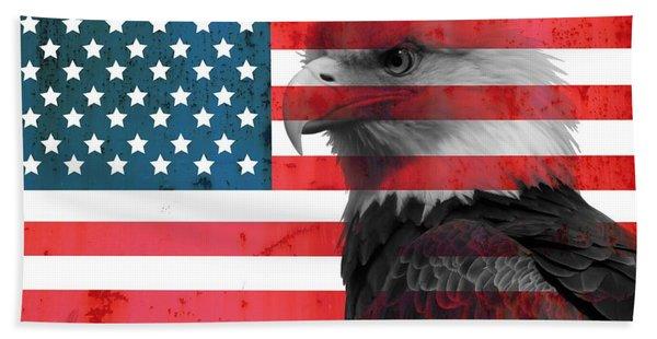 Bald Eagle American Flag Beach Towel