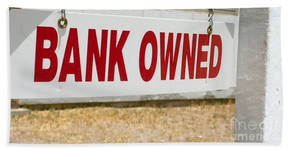 Beach Towel featuring the photograph Bank Owned Real Estate Sign by Gunter Nezhoda