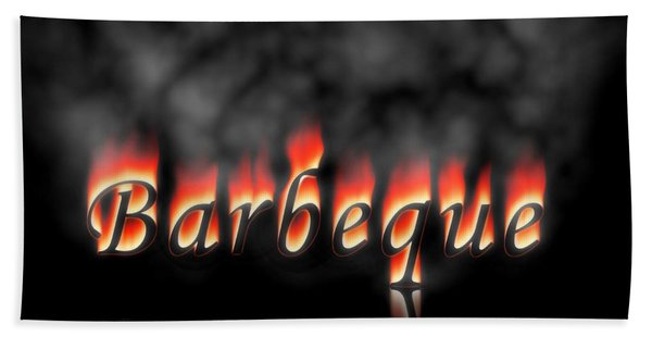 Barbeque Text On Fire Beach Towel