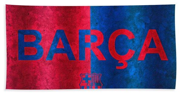 Barcelona Football Club Poster Beach Towel