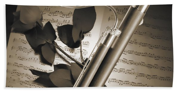 Bassoon Music Instrument Photograph In Sepia 3406.01 Beach Sheet