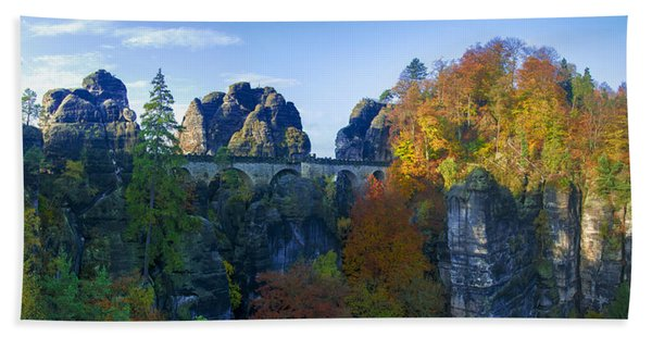 Bastei Bridge In The Elbe Sandstone Mountains Beach Towel