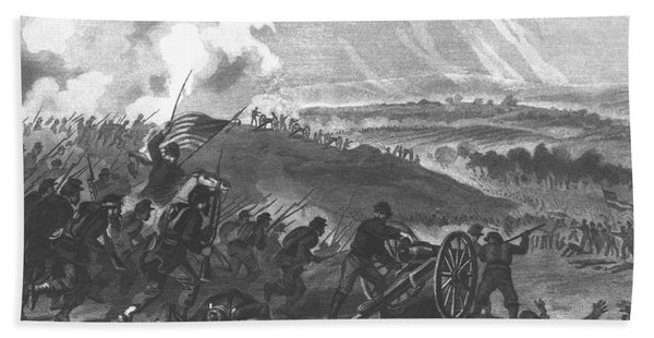 Battle Of Gettysburg - Final Charge Of The Union Forces At Cemetery Hill, 1863 Pub. 1865 Engraving Beach Towel