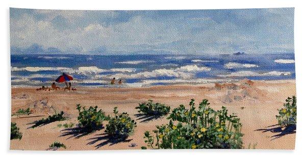 Beach Scene On Galveston Island Beach Sheet