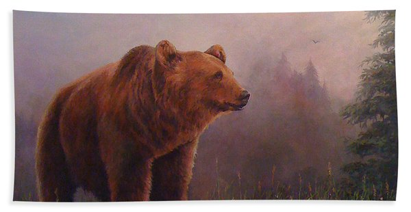 Bear In The Mist Beach Towel