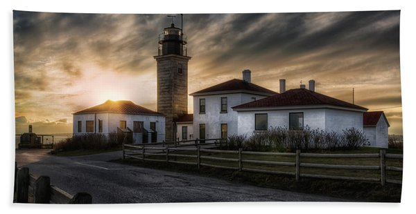Beavertail Lighthouse Sunset Beach Towel