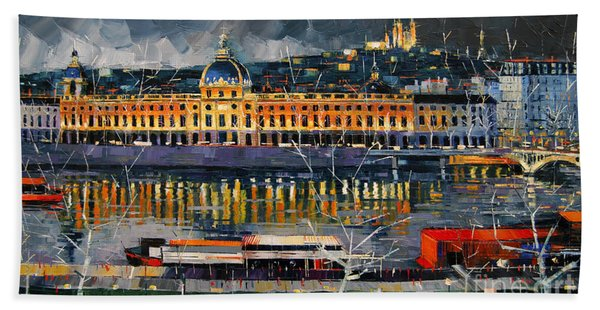 Before The Storm - View On Hotel Dieu Lyon And The Rhone France Beach Towel
