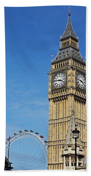 Big Ben And London Eye Beach Towel