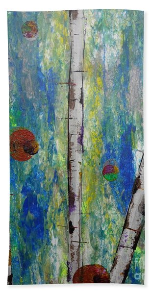 Beach Towel featuring the painting Birch - Lt. Green 4 by Jacqueline Athmann