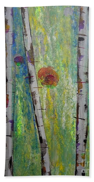 Beach Towel featuring the painting Birch - Lt. Green 5 by Jacqueline Athmann
