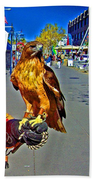 Bird Of Prey At Boat Show 2013 Beach Towel