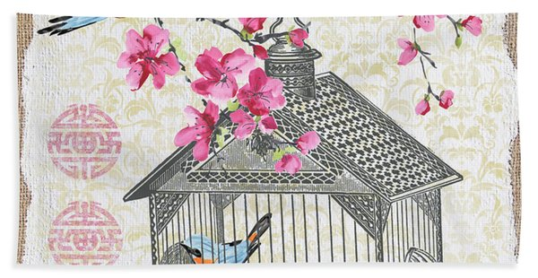 Birdcage With Cherry Blossoms-jp2611 Beach Towel