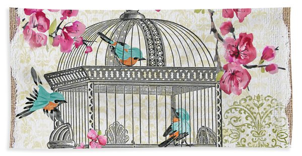 Birdcage With Cherry Blossoms-jp2612 Beach Towel