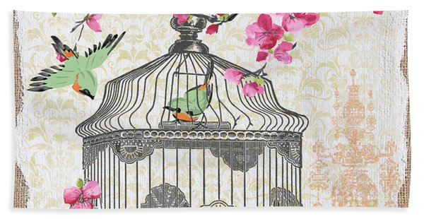 Birdcage With Cherry Blossoms-jp2613 Beach Towel