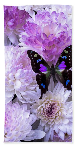 Black And Purple Butterfly On Mums Beach Towel