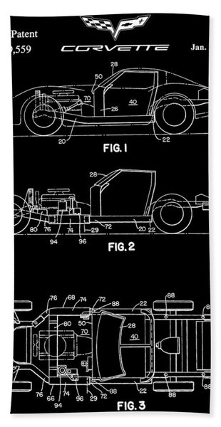 Black And White Corvette Patent Beach Towel