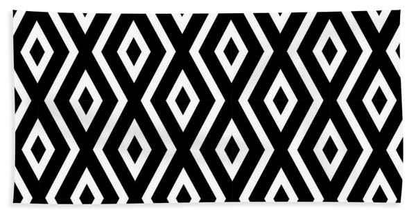 Black And White Pattern Beach Towel