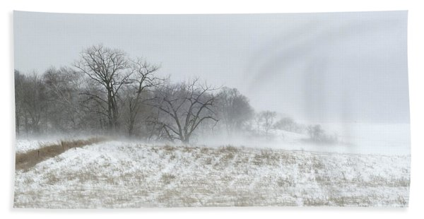 Blowing Snow Over Fields And Forest Beach Towel
