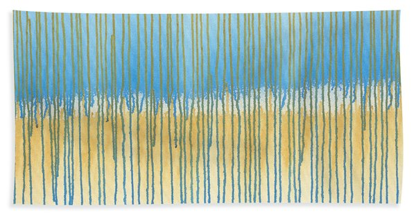 Blue And Gold Beach Towel