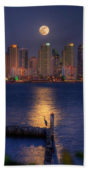 Blue Heron Moon Beach Towel