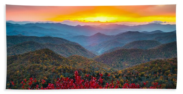 Blue Ridge Parkway Autumn Sunset Nc - Rapture Beach Towel