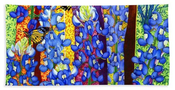 Bluebonnet Garden Beach Towel
