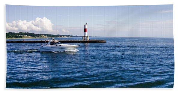 Boat At Holland Pier Beach Towel