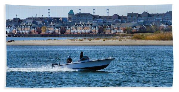 Boating In New York Harbor Beach Towel